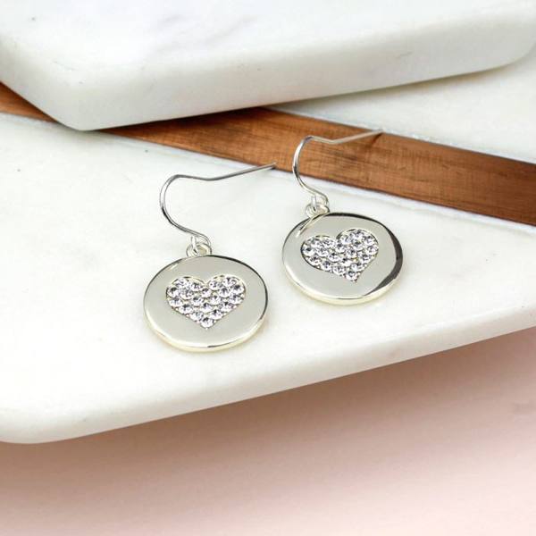 Silver plated disc and crystal heart earrings | Image 1