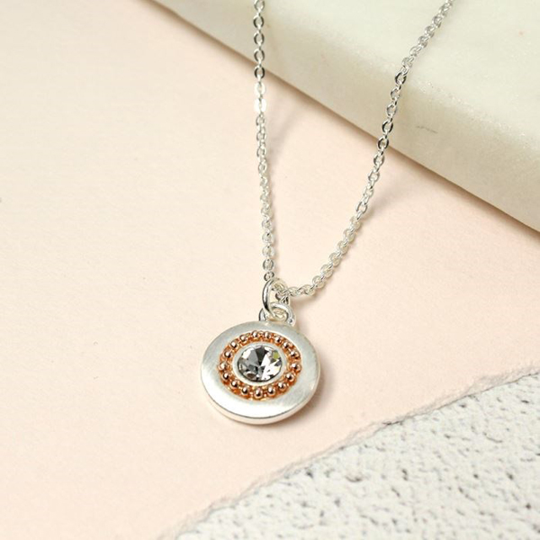 Silver plated disc necklace with rose gold beads and crystal | Image 1