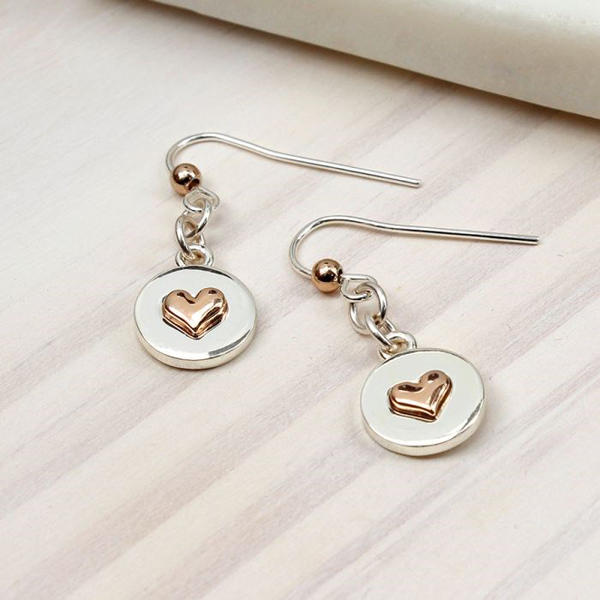 Silver plated disc and rose gold heart drop earrings | Image 1