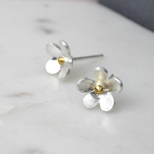 Sterling silver gold plated flower stud earrings | Image 1