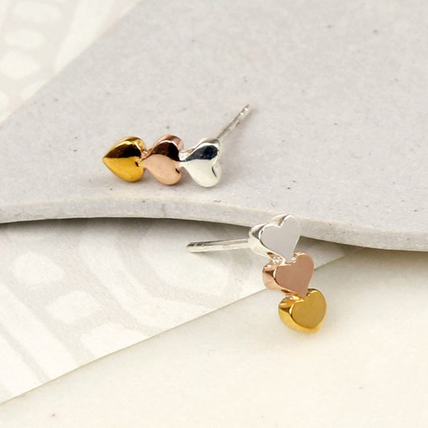 Sterling silver,gold and rose gold plated heart earrings | Image 1