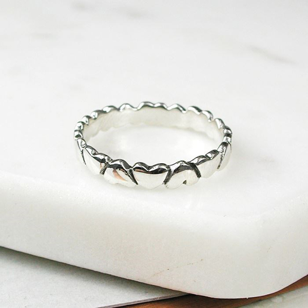 Sterling silver upside down hearts ring | Image 1