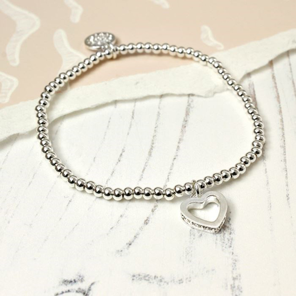 Silver plated bracelet with crystal edged open heart | Image 1