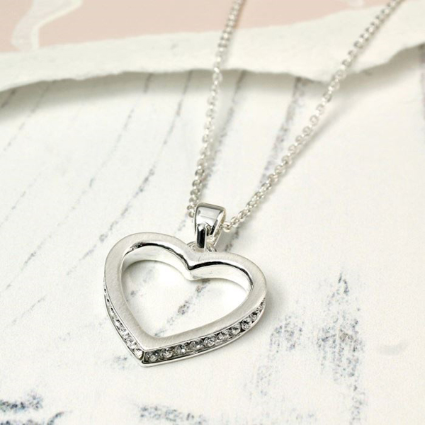Brushed silver open heart necklace with crystal inset | Image 1