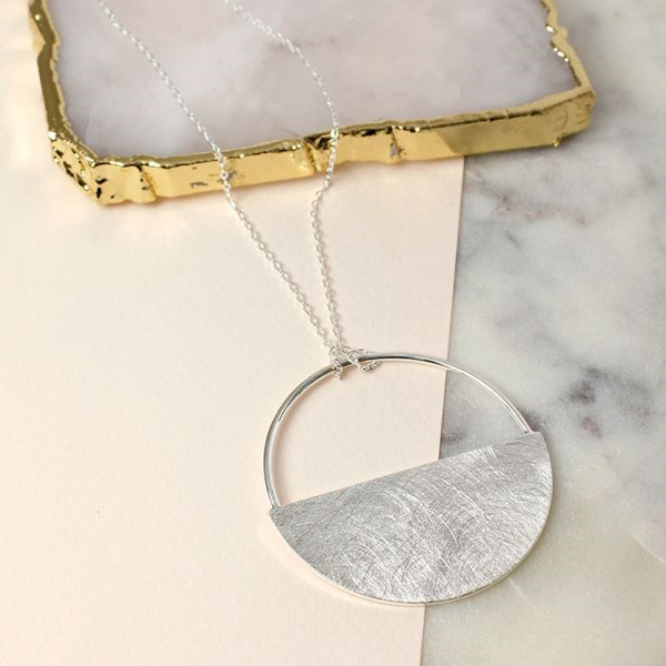 Silver plated scratched finish half circle necklace | Image 1