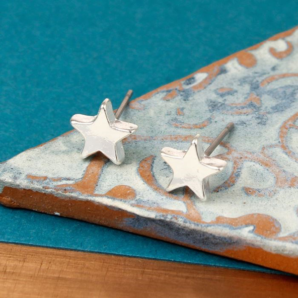 Silver Plated Star Stud Earrings | Image 1