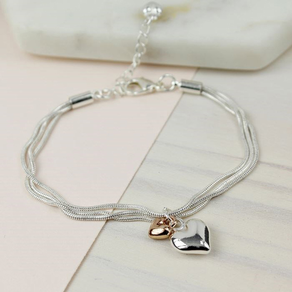 Triple strand silver and rose gold plated hearts bracelet | Image 1