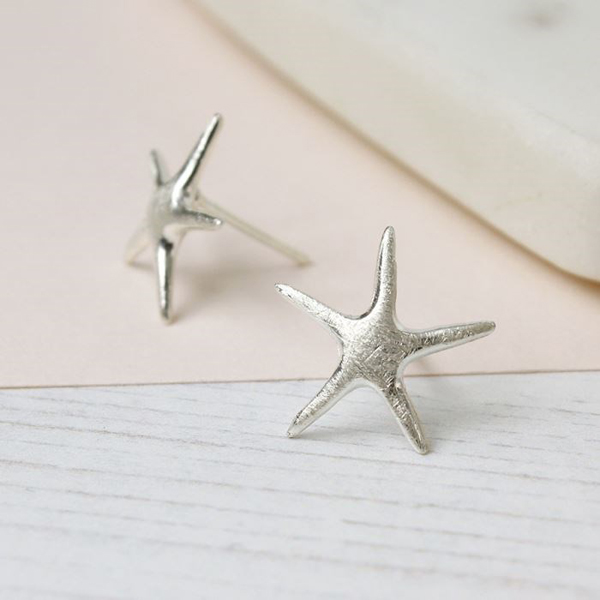 Sterling silver brushed finish starfish earrings | Image 1