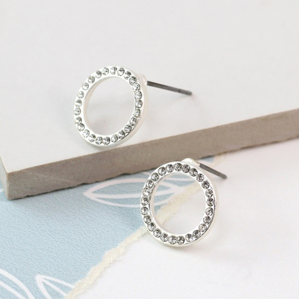 Silver plated open circle crystal inset earrings | Image 1