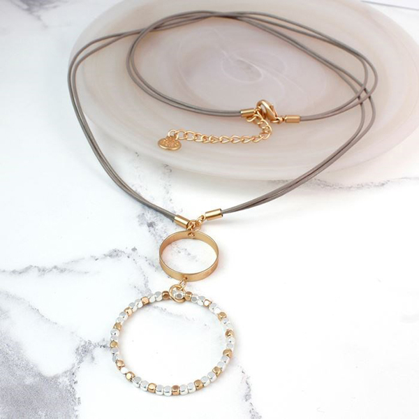Long taupe necklace with silver and gold bead hoop | Image 1