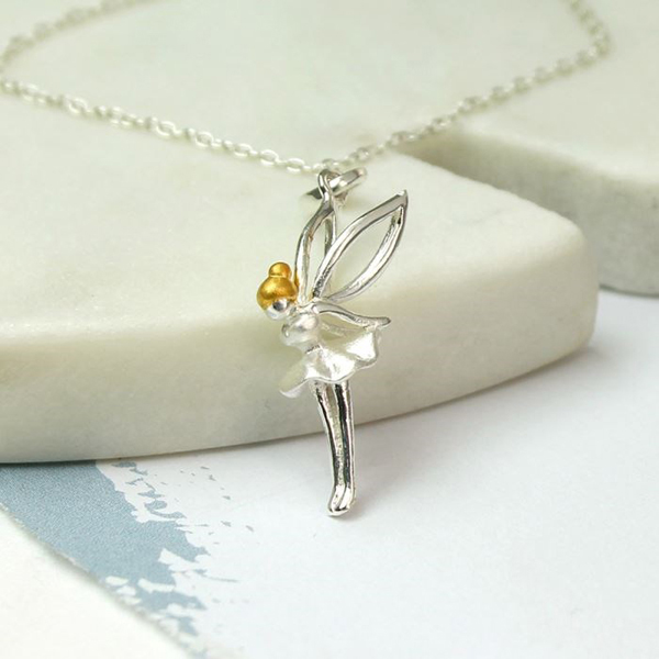 Sterling silver fairy necklace with gold plated hair | Image 1