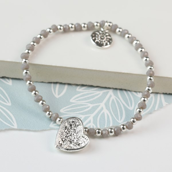 Silver and grey bead bracelet with silver plated crinkle heart | Image 1