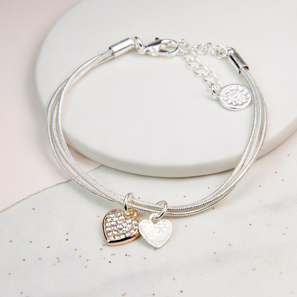 Rose gold and silver double heart bracelet with crystal | Image 1
