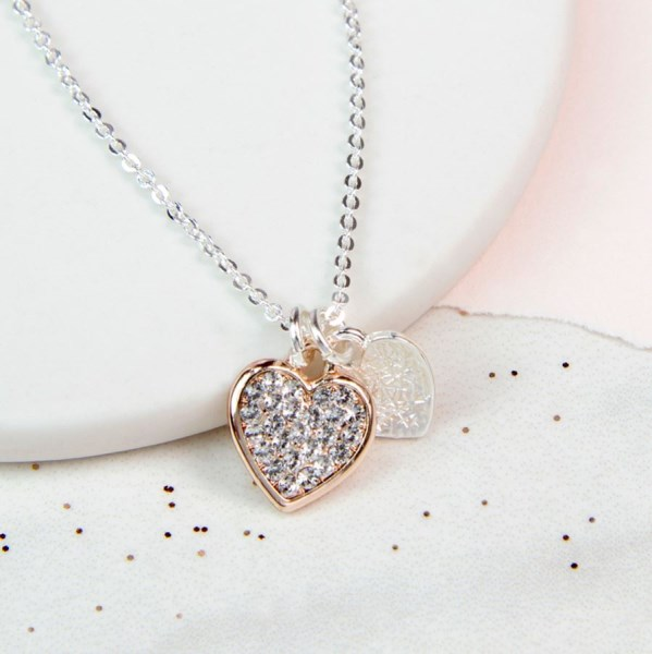 Rose gold and silver double heart necklace with crystals | Image 1