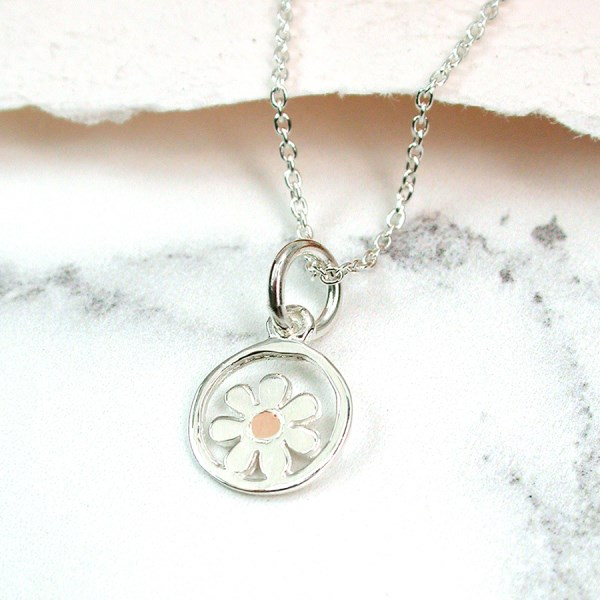 Sterling silver and rose gold daisy necklace | Image 1