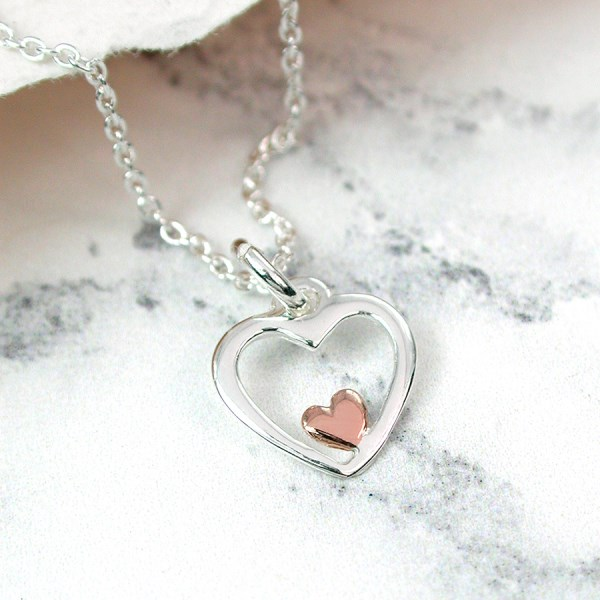 Sterling silver and rose gold double heart necklace | Image 1