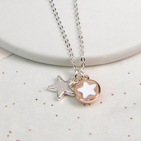 Silver plated, rose gold and acrylic double star necklace | Image 1