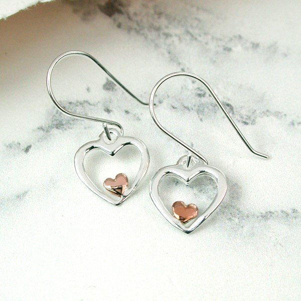Sterling silver and rose gold heart drop earrings | Image 1