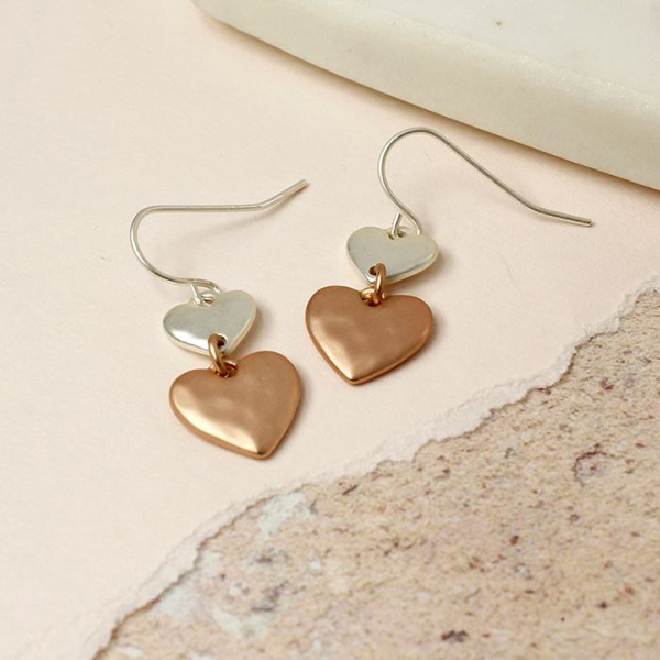 Silver and rose gold plated matt heart earrings | Image 1