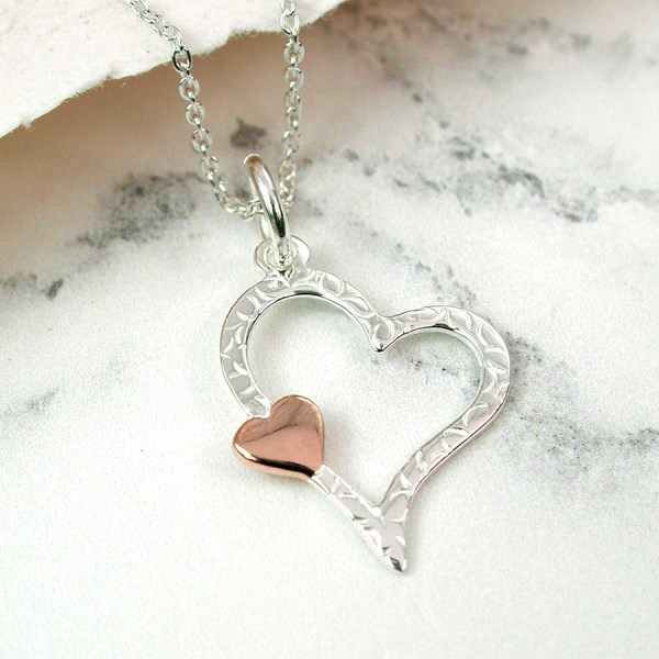 Sterling silver and rose gold textured heart necklace | Image 1