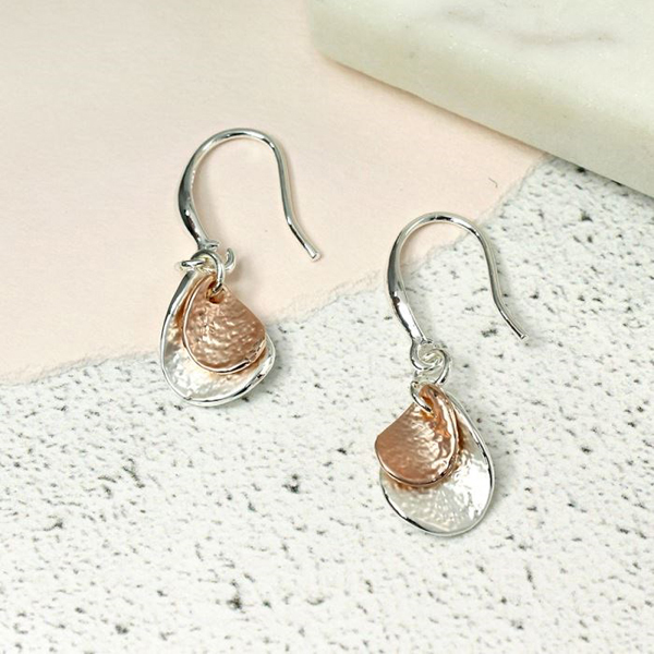Silver and rose gold twisted teardrop earrings | Image 1