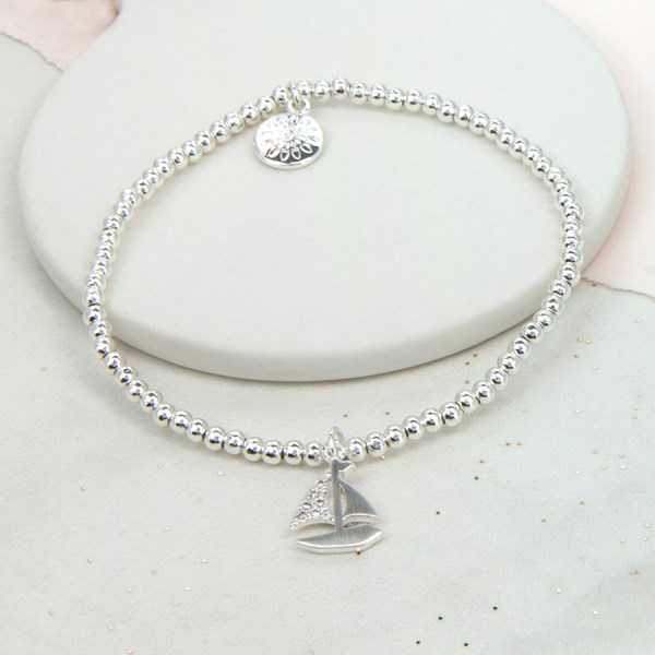 Silver plated bracelet with brushed silver crystal boat | Image 1