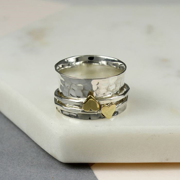 Sterling silver double heart spinning ring | Image 1