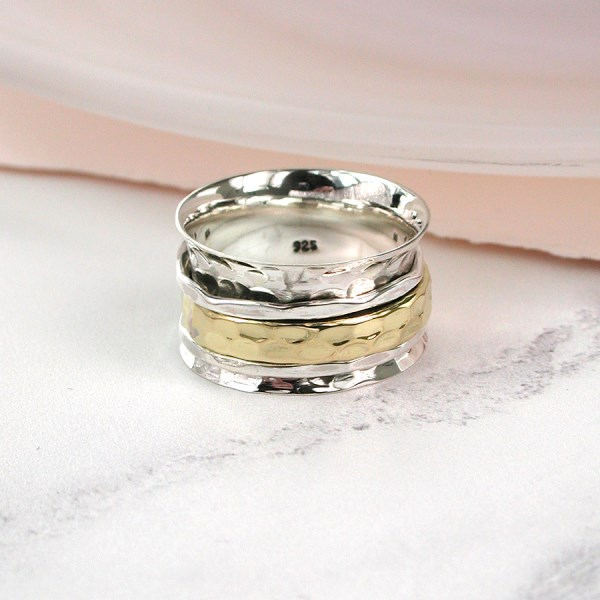 Sterling silver and brass triple band spinning ring | Image 1