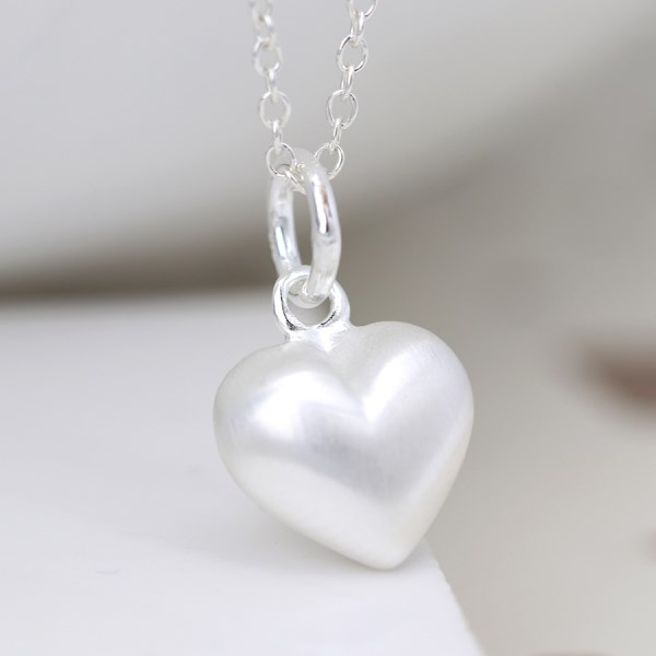 Sterling silver brushed heart pendant on a fine chain | Image 1