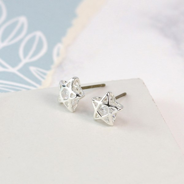 Silver plated star cage stud earrings with crystals | Image 1