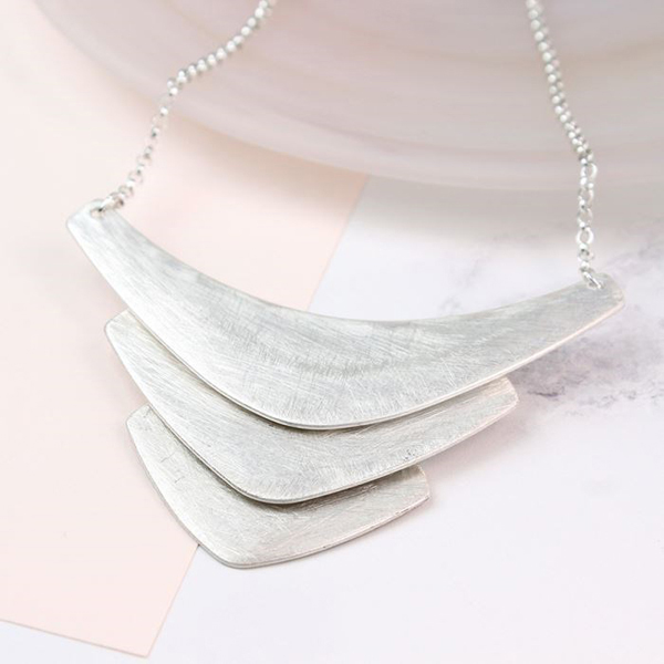 Triple chevron necklace in a scratched silver finish | Image 1
