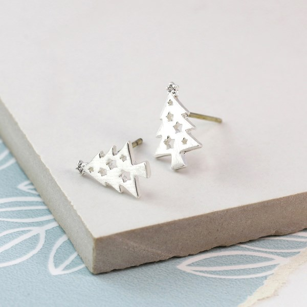 Silver plated christmas tree stud earrings with crystal | Image 1