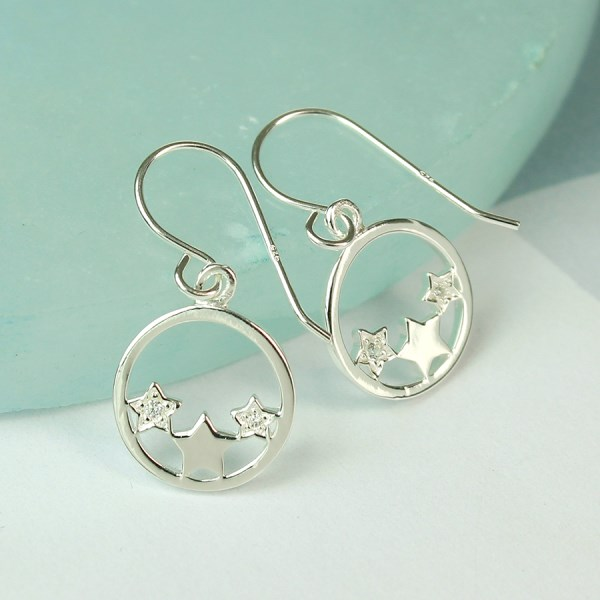 Sterling silver circle and triple star crystal earrings | Image 1