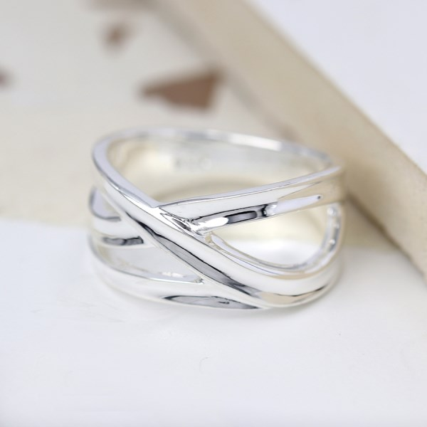 Sterling silver ring with multi strand crossover design | Image 1