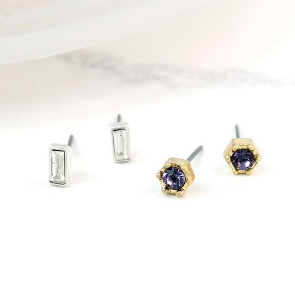 Silver plated crystal and gold plated amethyst earring set | Image 1