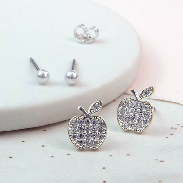 Silver plated crystal apple and ivory pearl stud earring set | Image 1