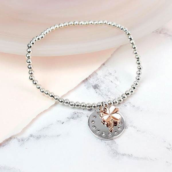 Silver and rose gold plated crystal disc shamrock bracelet | Image 1