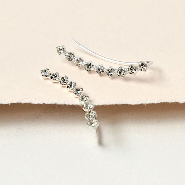 Sterling silver curved earlines with little crystals | Image 1