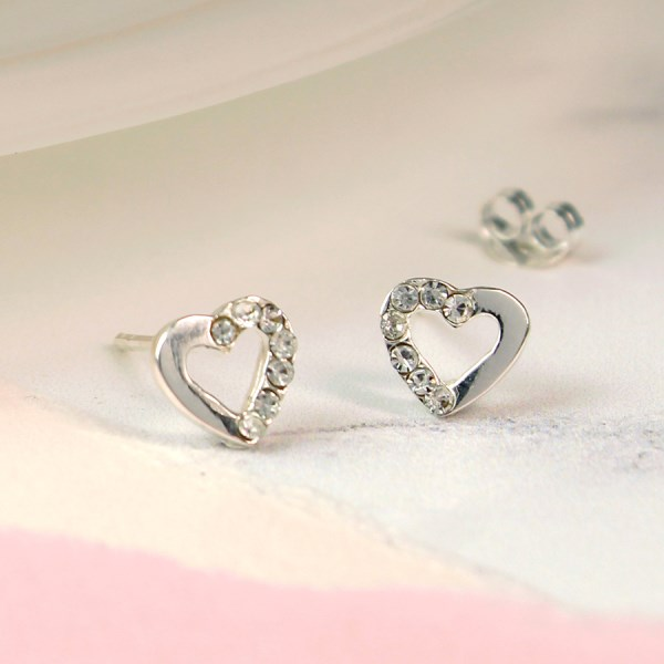Sterling silver heart stud earrings with crystal inset | Image 1