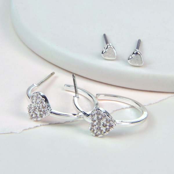 Silver plated crystal heart hoop and heart stud earring set | Image 1