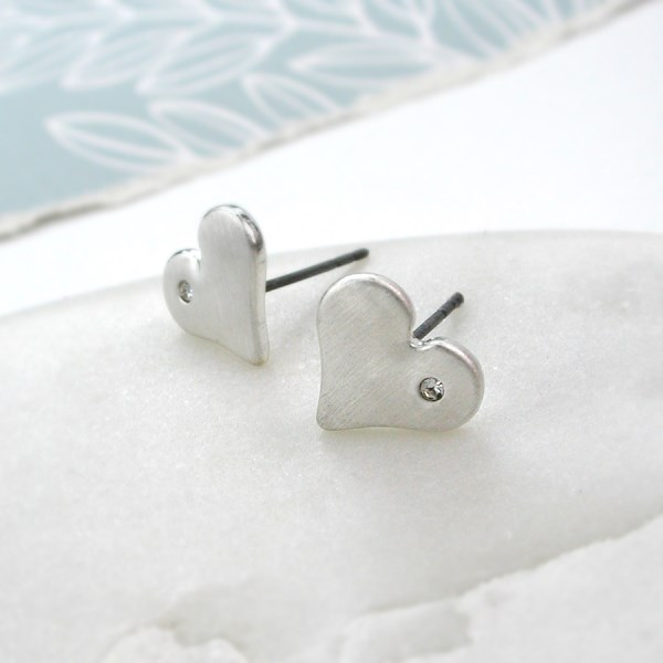 Silver plated brushed heart earrings with crystal detail | Image 1