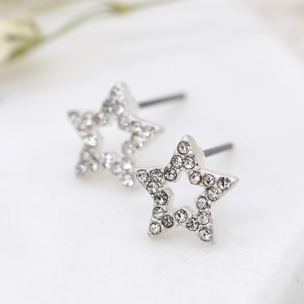 Silver plated open crystal star stud earrings | Image 1