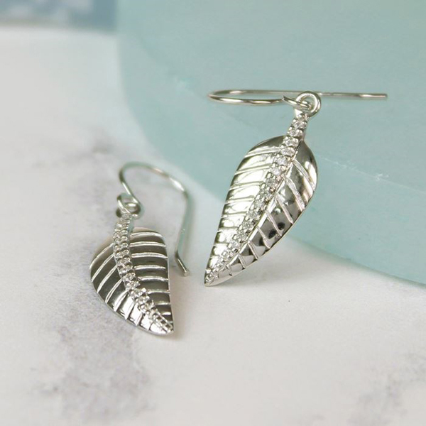 Sterling silver leaf drop earrings with CZ crystals | Image 1