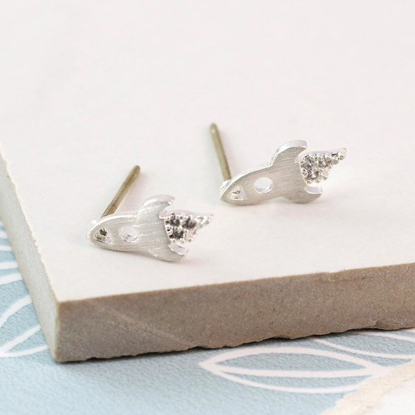 Silver plated rocket stud earrings with crystals | Image 1