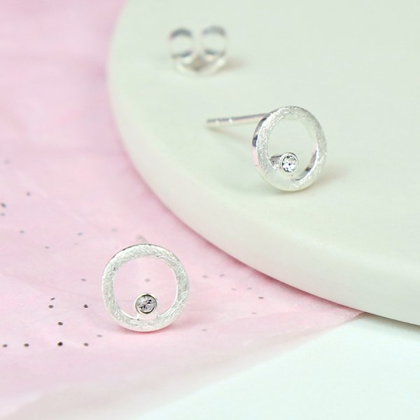 Sterling silver and Swarovski crystal circle stud earrings | Image 1