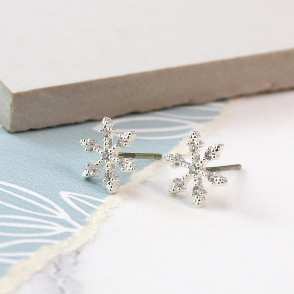 Silver plated snowflake stud earrings with crystals | Image 1