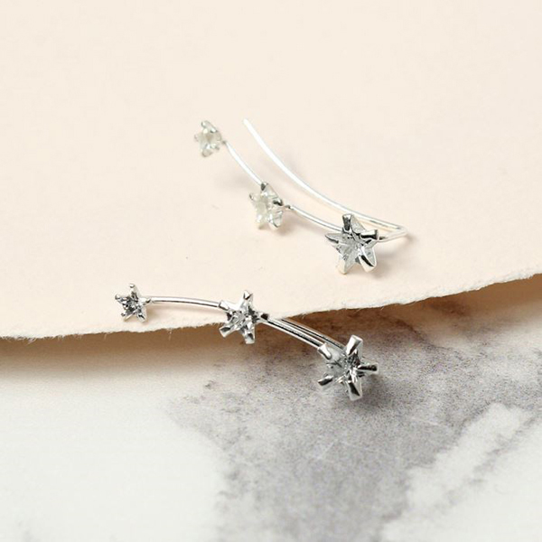 Sterling silver earlines with three crystal stars | Image 1