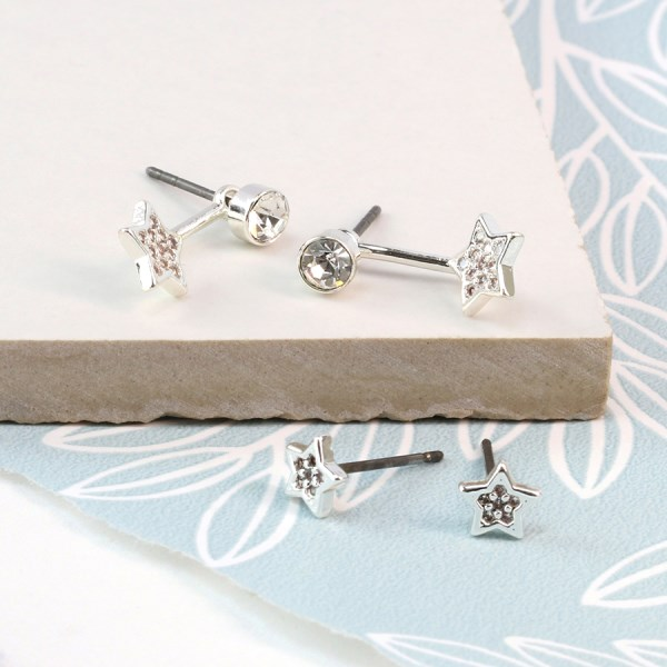 Silver plated crystal and star stud earring twin pack | Image 1