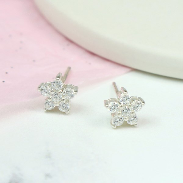 Sterling silver and CZ crystal starflower stud earrings | Image 1