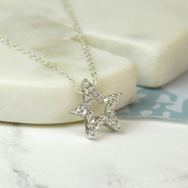 Sterling silver star necklace with faceted CZ crystals | Image 1